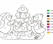 Coloring pages Christmas tree in different colors