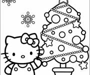 Coloring pages Hello Kitty and The Christmas Tree