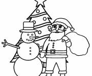 Coloring pages Santa Claus and The Tree