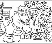 Coloring pages Santa Claus places gifts under the tree