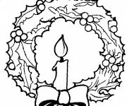 Coloring pages A candle in the center of Christmas wreath