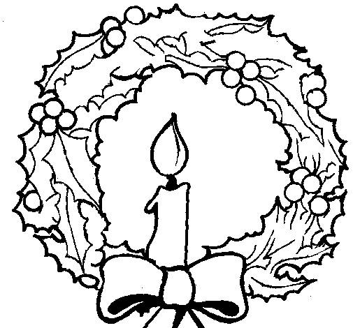 Free coloring and drawings A candle in the center of Christmas wreath Coloring page