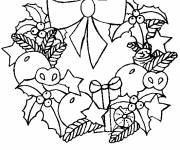 Free coloring and drawings Christmas wreath for children Coloring page