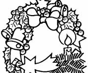 Free coloring and drawings Christmas wreath in black Coloring page