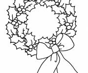 Free coloring and drawings Christmas wreath in black and white Coloring page