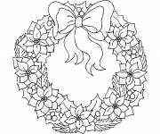 Free coloring and drawings Christmas wreath in winter Coloring page