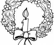 Free coloring and drawings Christmas wreath with candle Coloring page