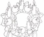 Coloring pages Christmas wreath with five candles