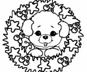 Coloring pages Christmas wreath with teddy bear
