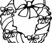 Free coloring and drawings Decorated christmas wreath Coloring page