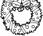 Free coloring and drawings Easy Christmas wreath Coloring page