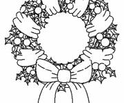 Free coloring and drawings Maternal Christmas wreath Coloring page