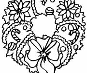 Free coloring and drawings Stylized Christmas wreath Coloring page