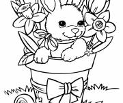 Coloring pages Cute bunny is having fun among the flowers