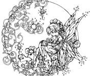 Coloring pages Difficult fairy drawing for adult