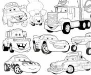 Coloring pages Flash Mcqueen and his gang