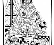 Coloring pages Donald's family decorate the Christmas tree