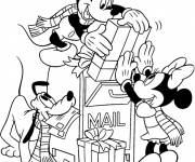 Coloring pages Mickey and Minnie and Christmas Gifts