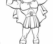 Coloring pages Hercules shows his muscles