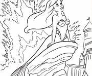 Coloring pages Princess Ariel dreaming