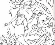 Coloring pages Princess Ariel with Duffel