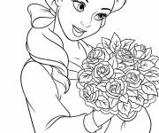 Coloring pages The beautiful Ariel holds a bouquet