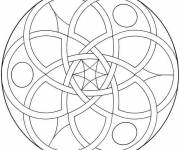 Coloring pages Easy Mandala for cutting