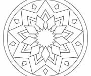 Coloring pages Easy Mandala in black and white