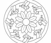 Coloring pages Mandala The bee and The Easy Rose