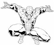 Coloring pages Easy Spiderman in black and white