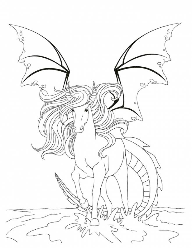 Free coloring and drawings A Fantastic Horse in color Coloring page
