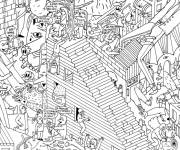 Coloring pages Adult Difficult Modern Life