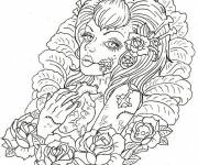 Coloring pages Adult Woman and Difficult Heart