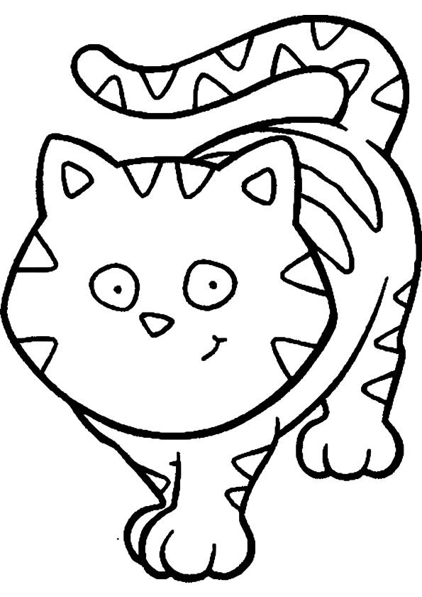 Free coloring and drawings A Fat Cat to cut up Coloring page