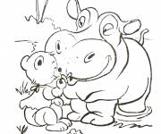 Free coloring and drawings Forest Hippopotamus and Teddy Bear Coloring page