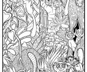 Free coloring and drawings little jungle monkeys Coloring page