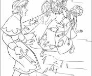 Coloring pages Animated scene of Elsa and Hans