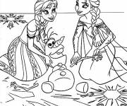 Coloring pages Elsa and Anna and The Poor Olaf