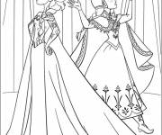 Coloring pages Elsa and Anna disagree