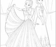 Coloring pages Elsa and Anna in Gorgeous Dresses