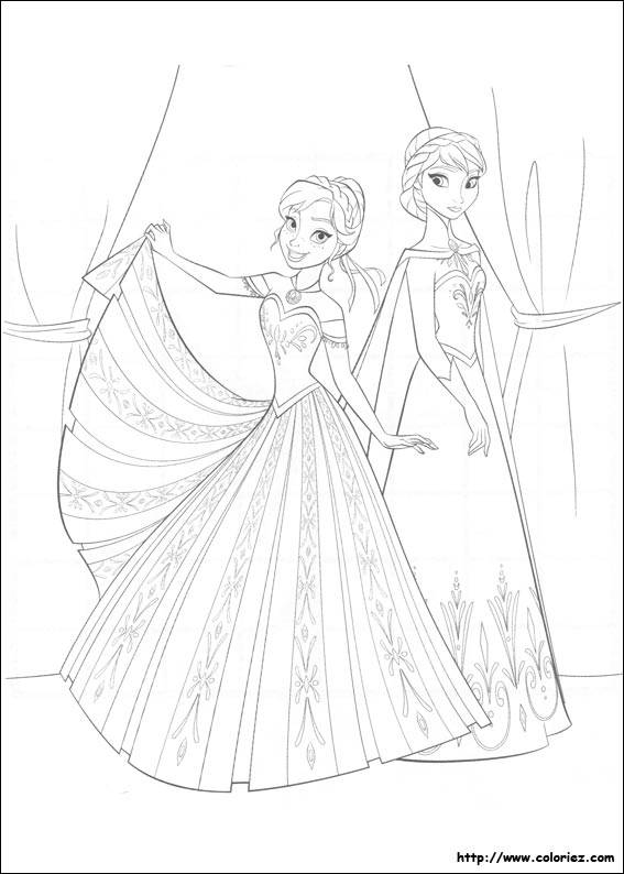 Free coloring and drawings Elsa and Anna in Gorgeous Dresses Coloring page