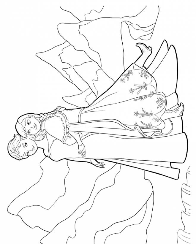 Free coloring and drawings Elsa and Anna Sisters vector Coloring page