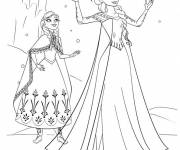 Coloring pages Elsa and Anna under The Snow