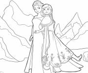 Coloring pages Elsa and Her sister in The Mountain
