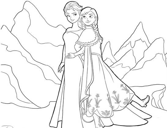 Free coloring and drawings Elsa and Her sister in The Mountain Coloring page