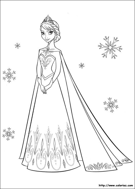 Free coloring and drawings Elsa and Snowflakes Coloring page