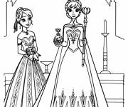 Coloring pages Frozen and Anna to cut out