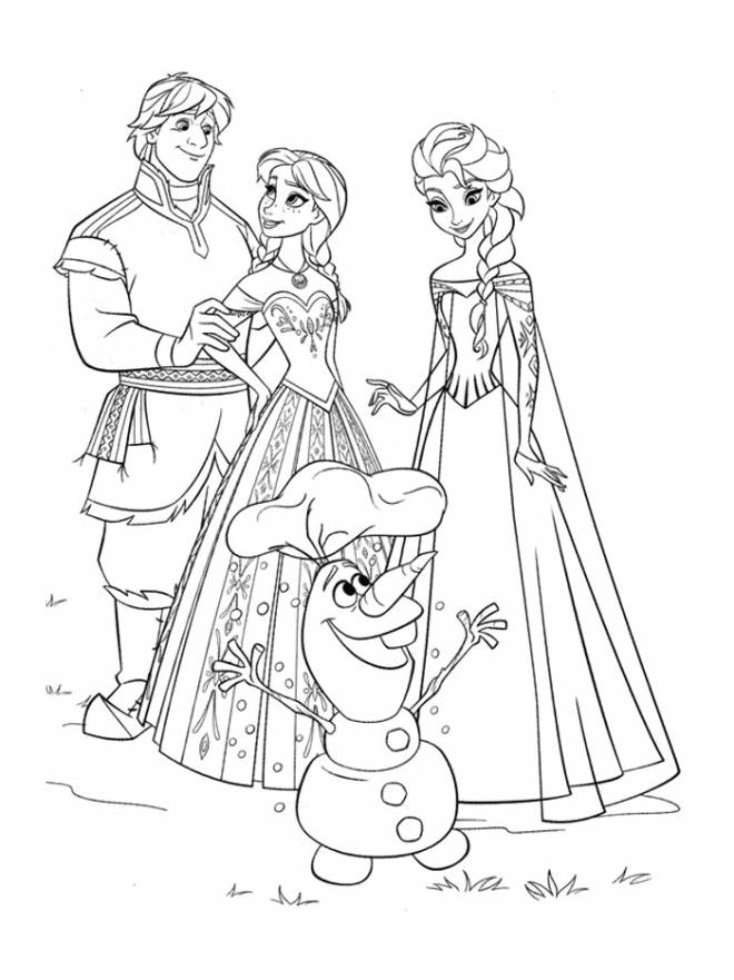 Free coloring and drawings Frozen and her friends Coloring page