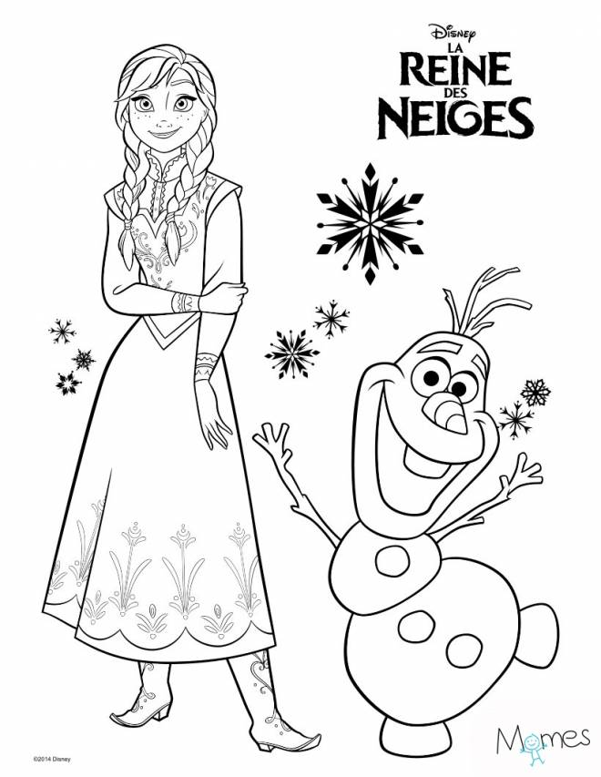 Free coloring and drawings Frozen and Olaf Coloring page