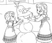 Coloring pages Frozen and Snowman